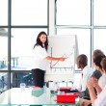 Confident businesswoman in a presentation — Stock Photo