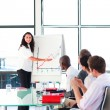 Businessswoman reporting to sales figures in a meeting — Stock Photo