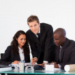 Business team talking to each other in a meeting — Stock Photo #10308529