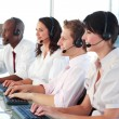 Business employees in a call center — Stock Photo