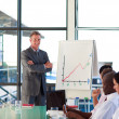 Businessman in a presentation with folded arms — Stock Photo