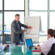 Mature manager reporting to sales figures — Stock Photo #10308686