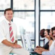 Mature manager in a call center — Stock Photo #10309156