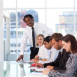 Afro-American leadership working with his team — Stock Photo