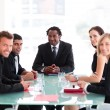 Happy business leader in a meeting — Stock Photo #10309396