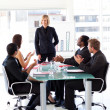 Foto Stock: Business applauding their manager
