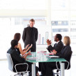 Business clapping colleague in presentation — Stock Photo #10309601