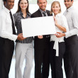 Business showing a big white card — Stock Photo #10309657