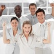 Business Team Smiling and Holding up Thumbs to camera — Stock Photo #10309809