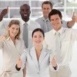 Business Team Smiling and Holding up Thumbs to camera — Stock Photo