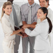 Close-up of smiling business team with hands together — Stock Photo