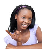 Positive young woman pointing — Stock Photo