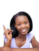 Charming Afro-american woman pointing — Stock Photo
