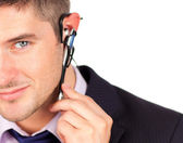 Man on headset looking at the camera — Stock Photo