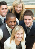 High view of business team smiling — Stock Photo