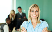 Businesswoman in front of working in an office — Stock Photo