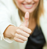 Businesswoman with her thumbs up — Stock Photo