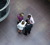 High angle of businessteam interacting with each other — Stock Photo