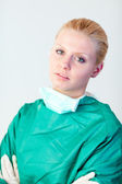 Female doctor looking serious — Stock Photo