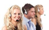Three in a call centre — Stock Photo