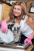 Charming young woman using a dishwasher — Photo