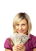 Happy woman holding dollars — Stock Photo