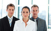 Businesswoman leading her team — Stock Photo