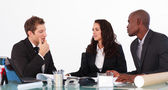 Businessteam conversing about a new plan — Stock Photo