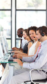 African-American businesswoman working in a call center — Stock Photo