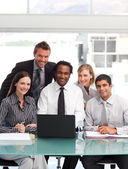 Business team working together smiling at the camera — Stock Photo