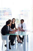 Business team working together in office with copy-space — Stock Photo