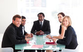 Happy business leader in a meeting — Stock Photo