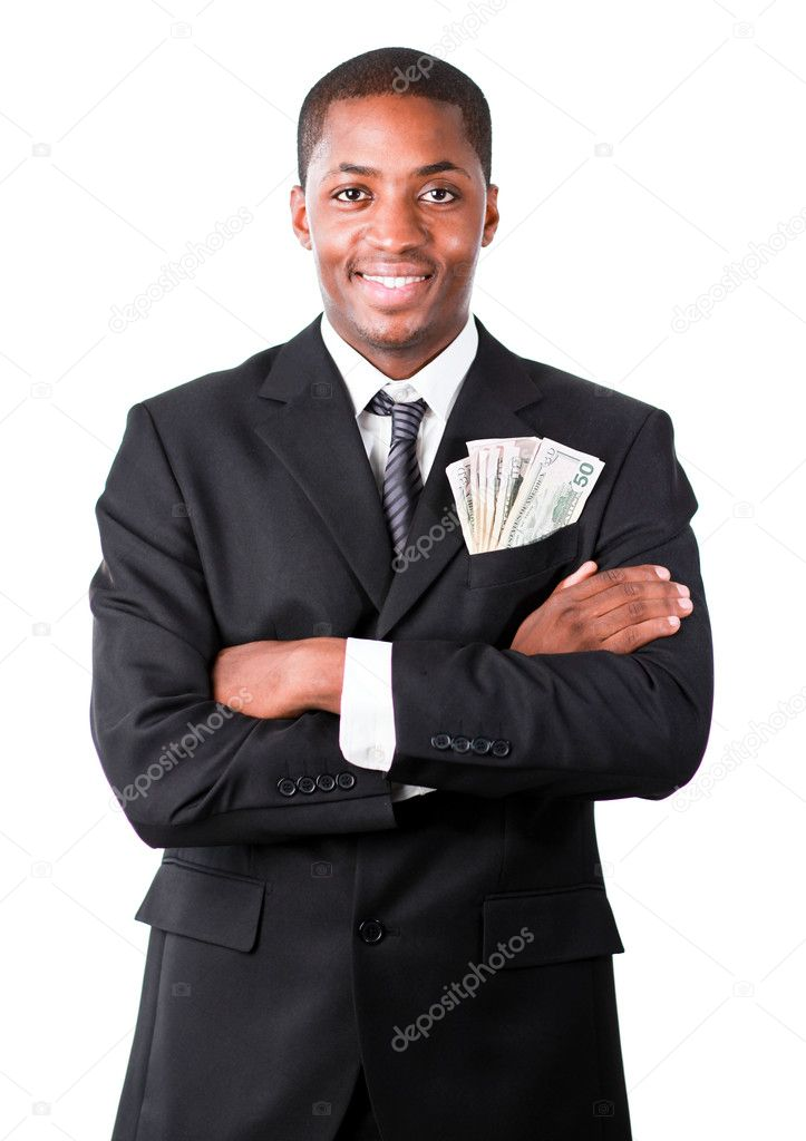 Handsome Afro-American businessman with folded arms and dollars in a pocket  Stock Photo #10301835