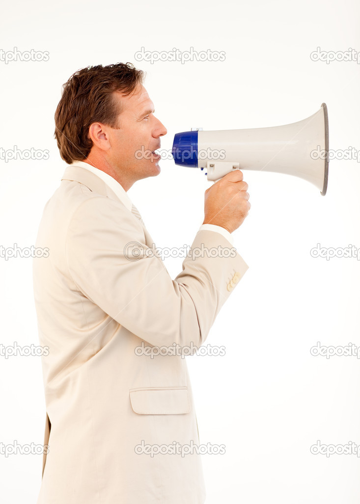 Handsome senior businessman manager speaking through a megaphone — Stock Photo #10307690