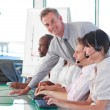 Business manager in a call centre — Stock Photo
