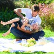 Father and son enjoying a picnic — Stock Photo #10310650