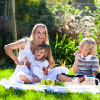 Stock Photo: Mother and children having a picnic