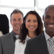 Five person Business team looking at camera and smiling — Stock Photo