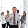 Sucessful businessteam drinking champagne — Stock Photo