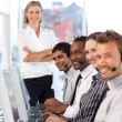Royalty-Free Stock Photo: Happy team in a call center