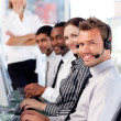 Happy team in a call center — Stock Photo