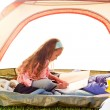Young girl in tent - Foto de Stock