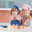 Nice children baking at home — Stock Photo