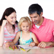 Nice family drawing together — Stock Photo #10312123