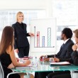 Businesswoman reporting to sales in a seminar - Stock Photo