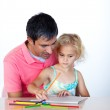 Father and daughter drawing together — Stock Photo #10312675