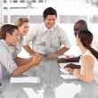 Stock Photo: Business Group working and interacting with each other