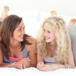 Happy two teen girls after shopping clothes — Stock Photo #10315478