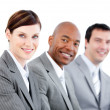 Portrait of smiling business team during a presentation — Stock Photo #10316296