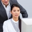 Asian businesswoman helping by her manager — Stock Photo